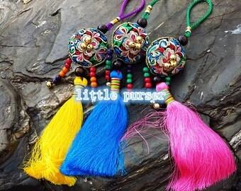 Charm Zip Pull Bag Accessories Pom Pom Curtain Holder Decoration Handmade by HMONG Handmade Shaman Bells
