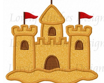 Sand Castle Applique Machine Embroidery Design NO:0546