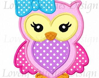 Girl Owl Applique Machine Embroidery Design NO:0548