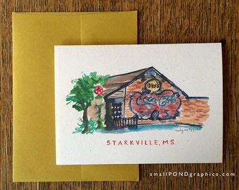 Oby's Restaurant Notecard - Downtown Starkville Mississippi - Single or Assorted Boxed Set