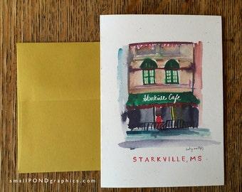 Starkville Cafe Restaurant Notecard - Downtown Starkville Mississippi - Single or Assorted Boxed Set