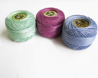 Cotton thread Perle 12, pearl cotton, embroidery thread, crochet thread, 3pc., choose 1 color or take all 3 (2)