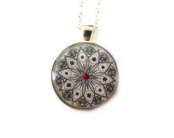 MANDALA NECKLACE - mandala pendant - adjustable jewelry - mandala jewelry - indian jewellery - black and white necklace - gypsy - for her