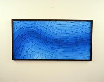 """wood wall art - """"COBALT"""" - wooden art, wall art, large, blue, contemporary, modern art, wooden wall hanging"""