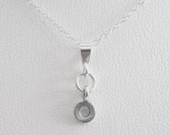 Initial Letter O Mini Pendant Charm and Necklace