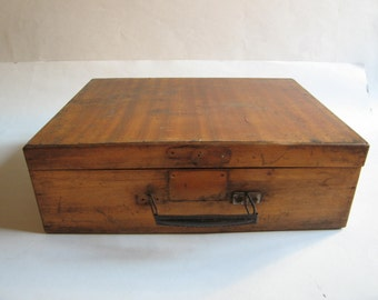 antique hand made wooden briefcase or small suitcase