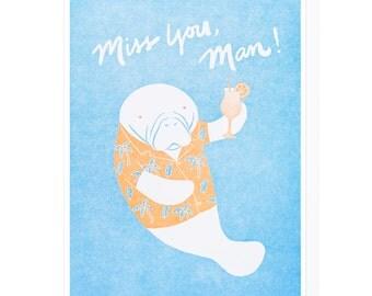 Miss You Manatee Letterpress Card