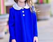 Madeline blue girls dress with white peter pan collar size 2t- girls 10