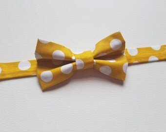 Boys Bowtie - Mustard Yellow Polkadot Polka dot Fabric - One Size Fits Most Adjustable Bow Tie Infants Toddler Child Tween Boy Men