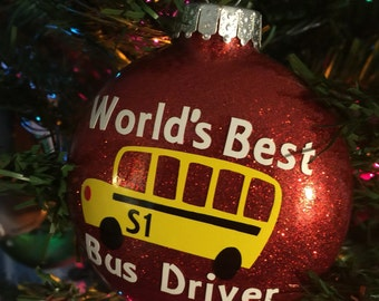 Bus Driver Ornament - Glitter, school bus driver, Christmas gift, Personalized Gift, School Bus Driver, Bus Driver gift, Christmas ornament
