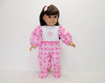 Footed Sleeper for 18 inch American Girl Dolls:  Hearts in Rows on Pink Flannel