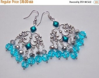 25%OFF Light Aqua Chandelier earrings
