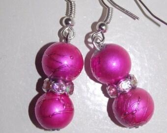 CLEARANCE 30%OFF Metallic Pink Earrings