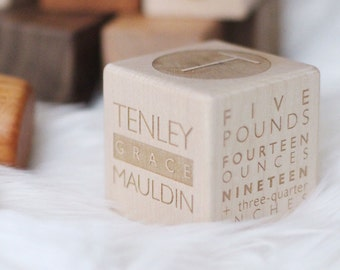 Modern Wood Block for New Baby // Personalized, Customized Wooden Keepsake for a new family