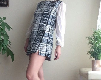 60s Wool Plaid Mini Dress