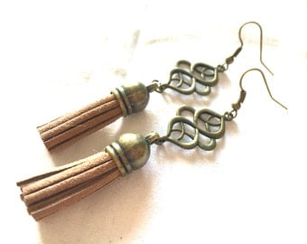 earrings tassel brown