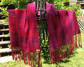 Handwoven Polished Cotton Shawl in Reds & Purples