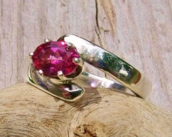 Handcrafted Rosey Blush Topaz & Sterling Silver offset Ring