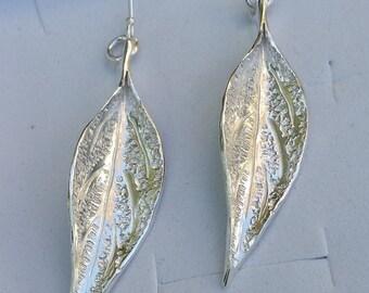 Leaf Silver Earrings ,Silver Dangle Earrings ,Long Silver Earrings ,Sterling Silver 925 Earrings ,Handmade Silver Earrings ,Unique Earrings