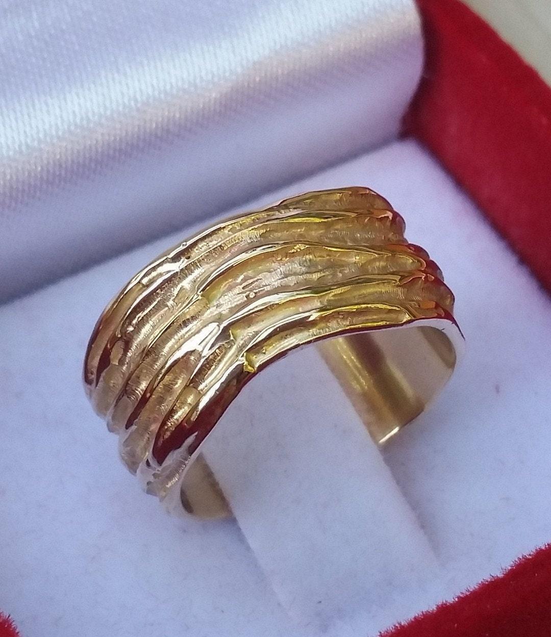 Details About Gold Wedding Band Unique Wedding Band Textured Gold Ring Unisex Gold Ring