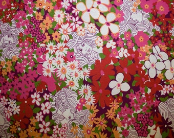 """Flowers Faces Print #12 100% Cotton Quilting Fabric Robert Kaufman Designer Print 45"""" Wide By The Half Yard"""