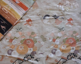 Japanese Tapestry/Kimono/Sash Belt/Obi Sash/Wall Hanging/Silk/Belt/Vintage/Fabric