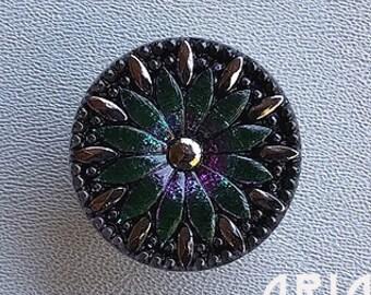 CZECH GLASS BUTTON: 31mm Handpainted Radiating Flower Czech Glass Button, Pendant, Cabochon (1)