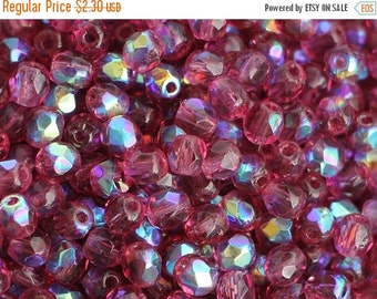 SALE -10% 50 pcs Fuschia AB Czech Fire Polished Glass Beads 4mm  Polish Faceted Magenta Round