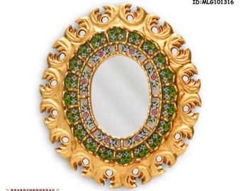 Antique Ornate Oval Wall Mirror Cuzco style 15.7 inch 'Colonial Splendor' - Wall Decorative Mirrors - Peruvian Handicrafts - Gifts Unique