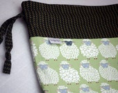 Woolly Sheep bag with cotton fabric ties for knitting & craft projects (small)