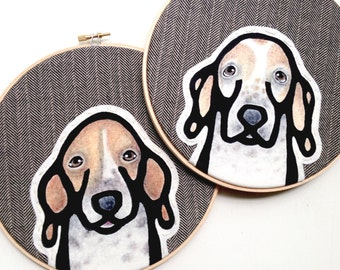 Custom Pet Portrait - LARGE 8 Inch Embroidery Hoops - TWO Custom Portraits - Pet Portrait - Pet Lovers - Gift for Pet Lovers