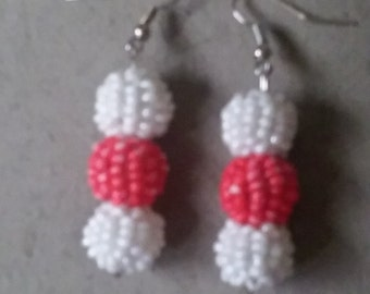 Coral and Pearl Beaded Ball Earrings