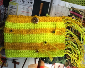 Yellow and orange crochet clutch