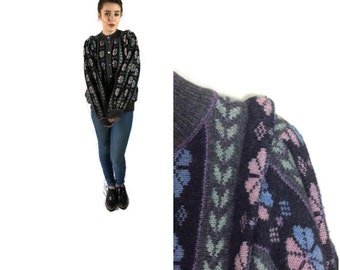 Vintage cardigan // dark grey pink and blue sweater // warm 80's cardigan // handframed scottish cardigan // medium