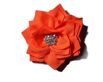 Girls Orange Hair Clip - Orange Lotus Flower Clip - Orange Rhinestone Hair Flower - 3 inch