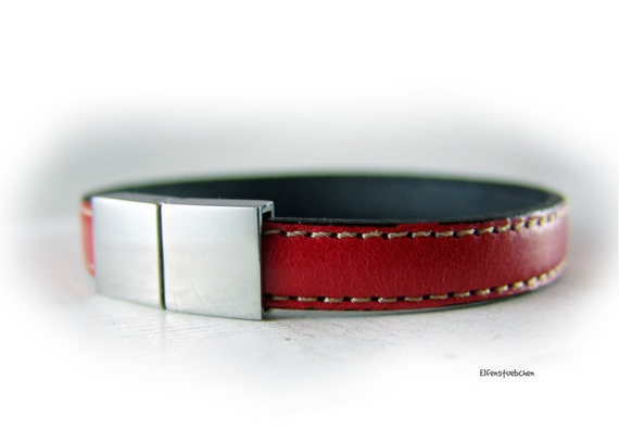 Womens mens red leather bracelet  silver stainless steel unisex - for couples  - gift for him her brother boyfriend sister girlfriend wife