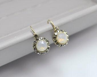 Gray crystal earrings