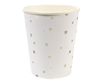 Metallic Silver Foil Stars Party Cups (Set of 8) - Meri Meri 9oz