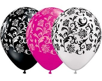 "11"" Pearl White, Black, or Magenta Pink Damask Latex Balloons"