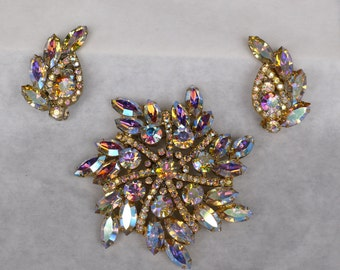 Aurora Borealis brooch and earring set [MV]