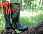 Ladies Monogram Rubber Boots, rain boots with bow,Black Camo Rain boots, Tall Boots, Hunters Orange Bows