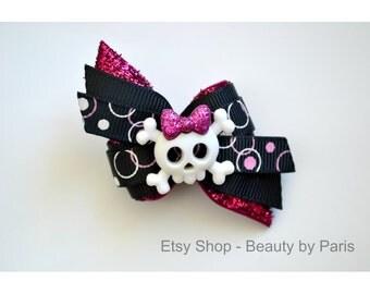 Girly Skull Dog Bow