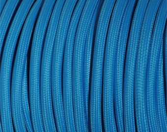 Round textile cable blue for light design and design