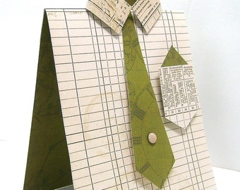Male dress shirt greeting card, Unique masculine any occasion card, Beige ledger paper design,  Green tie, Tan tie pin, Men, Guys, Dads