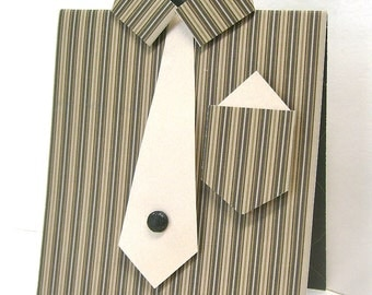 Male dress shirt greeting card, Unique masculine any occasion card, Brown stripes, Satin gold accents, Men, Guys, Dads, Bros, Uncles