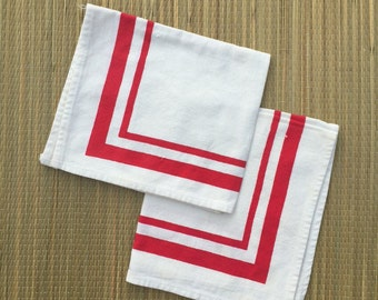 Anchors Away Vintage Cherry Red Linen Napkins (2)