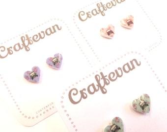 Classic mini cooper heart stud earrings
