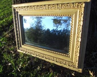 Antique Mirror, vintage mirror,Antique Frame, Wood Frame Mirror, Cream Mirror, Ornate Mirror,