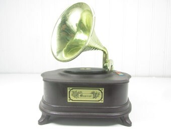 Vintage Music Box, Victrola Replica, Record Player, Phonograph, Try To Remember