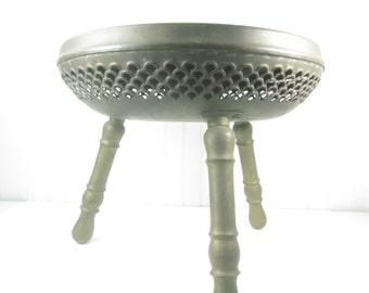 Brass foot stool, ottoman, foot warmer, Asian stool, middle eastern decor,boho decor,Chinese stool, plant stand,pierced,cutout design,